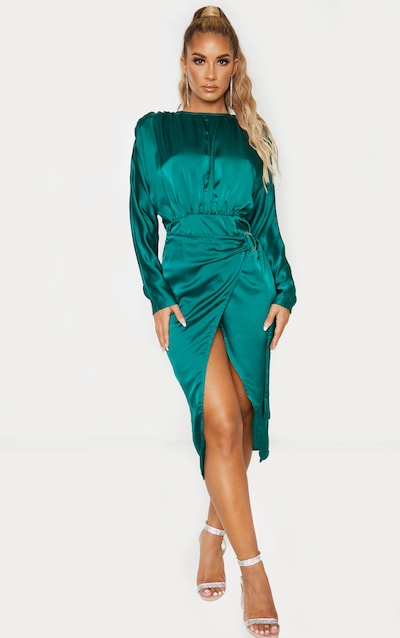 Emerald Green Satin Wrap Skirt Backless Midi Dress