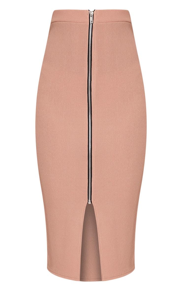 Sarie Blush Ribbed Zip Front Midi Skirt 3