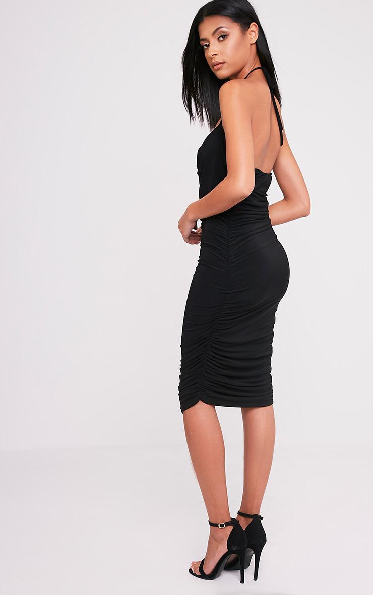 Larna Black Slinky Halter Cowl Neck Midi Dress 4