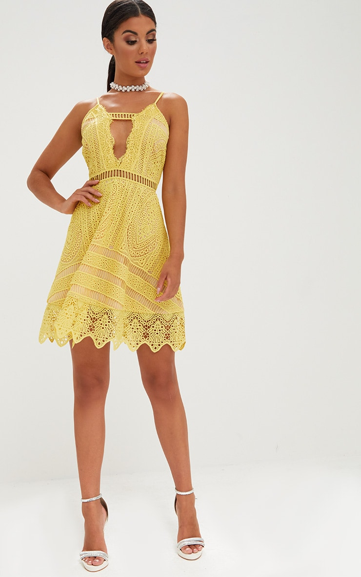 Yellow Crochet Lace Plunge Strappy Skater Dress 4