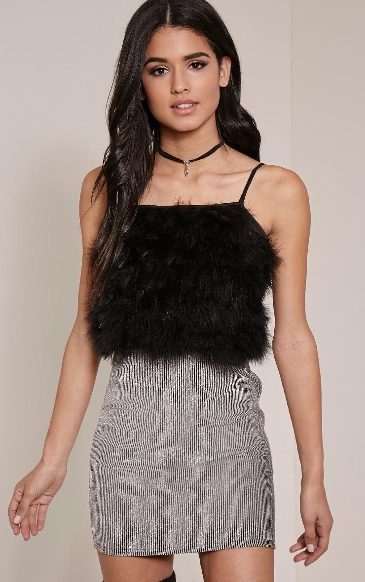 Deeva Black Fluffy Front Crop Top 1