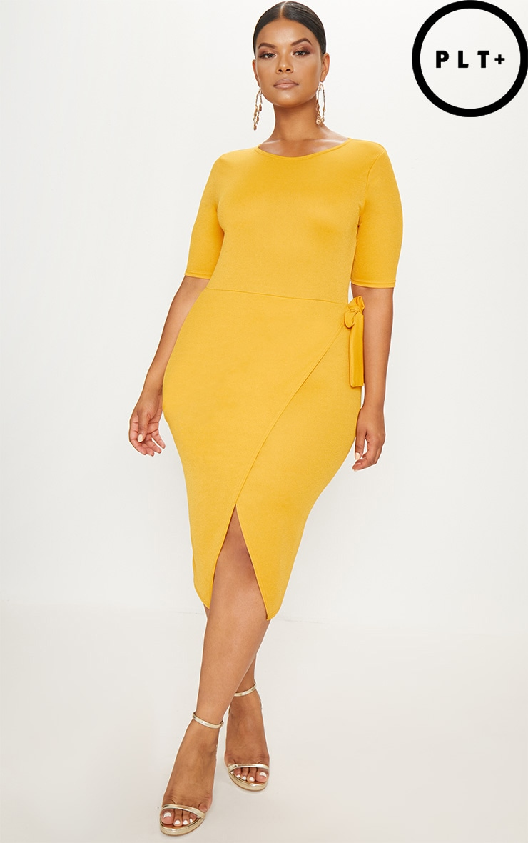 Plus Mustard Tie Detail Midi Dress 1