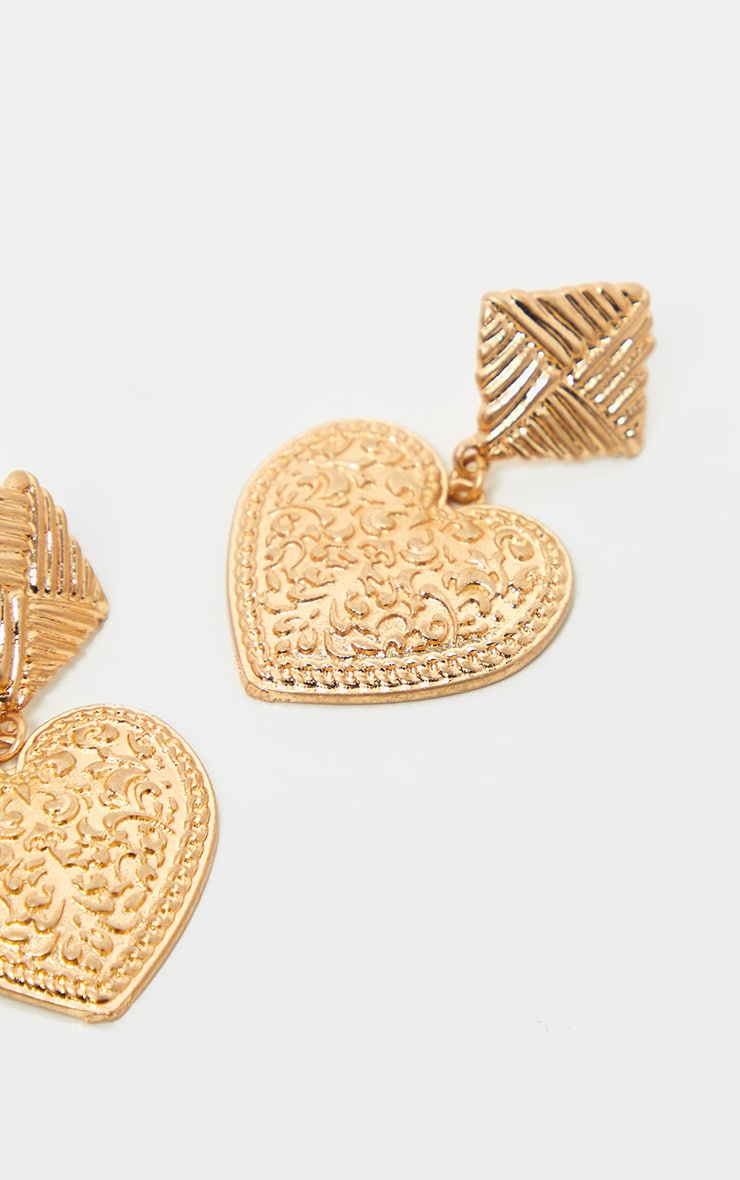 Gold Ornate Heart Drop And Textured Square Stud Earring  2