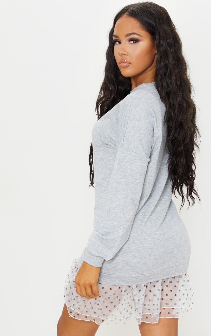Grey Long Sleeve Organza Hem Detail Jumper Dress 3