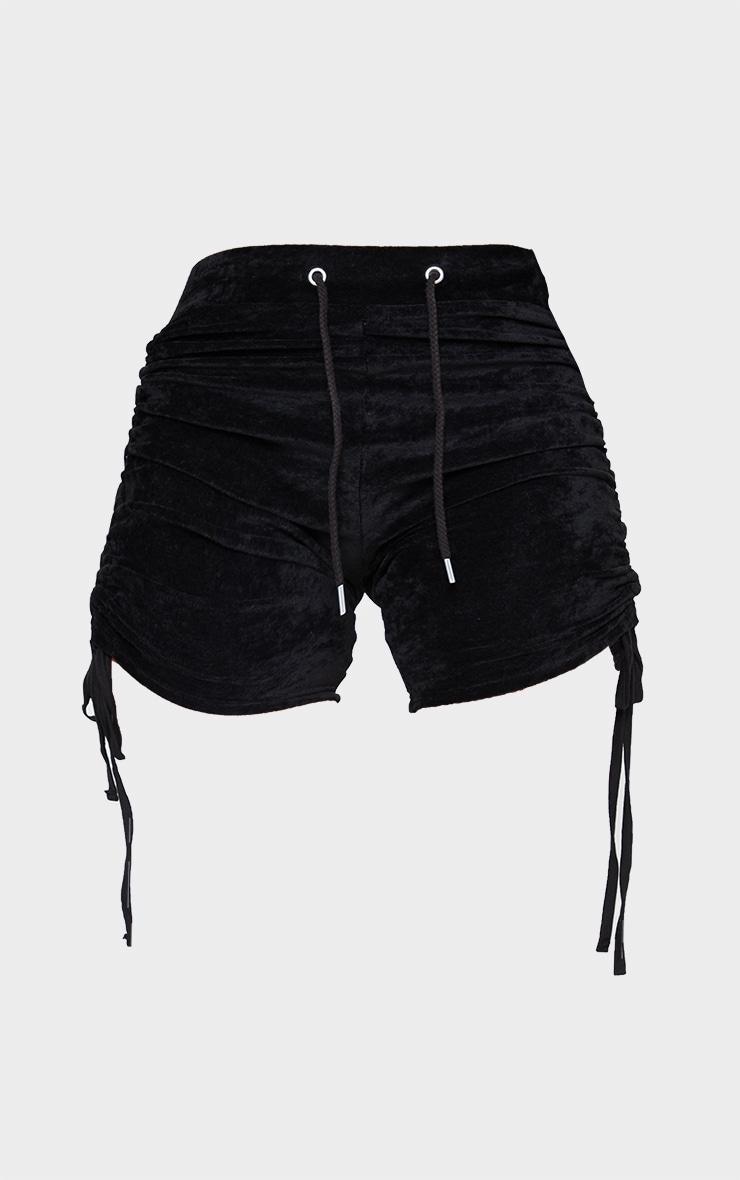 Shape Black Velour Ruched Side Shorts 6