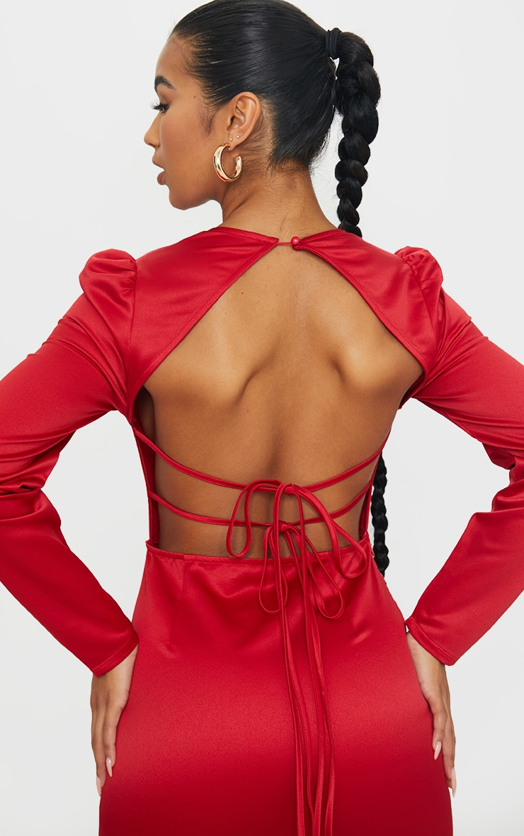 Red Long Sleeve Corset Detail Tie Back Bodycon Dress 4