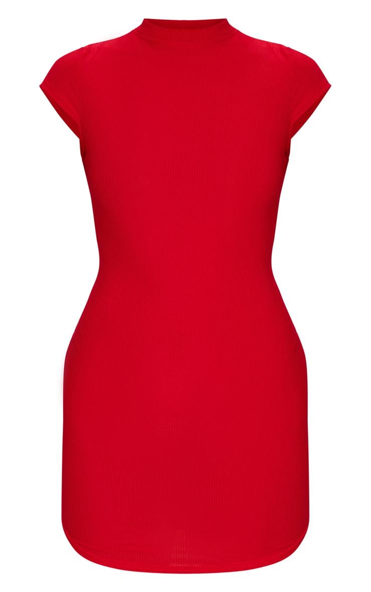 Robe moulante à col haut en maille rouge 5