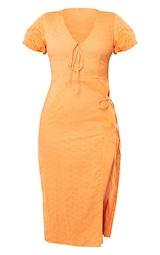 Orange Broderie Anglaise Tie Split Detail Midi Dress 5