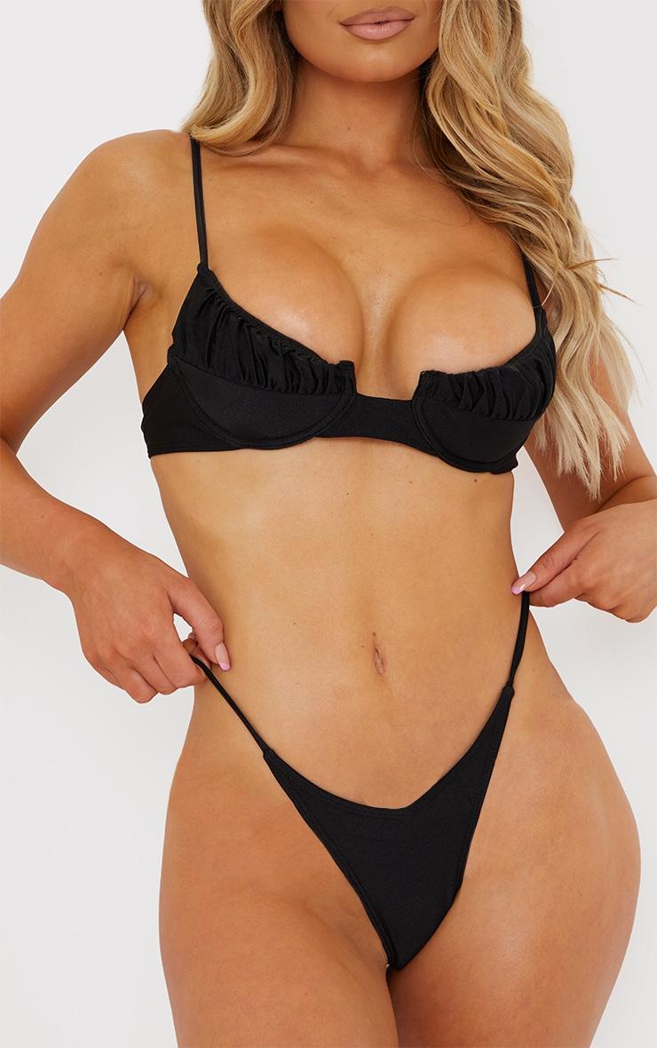 Black Tanga Strap Side Bikini Bottoms 1