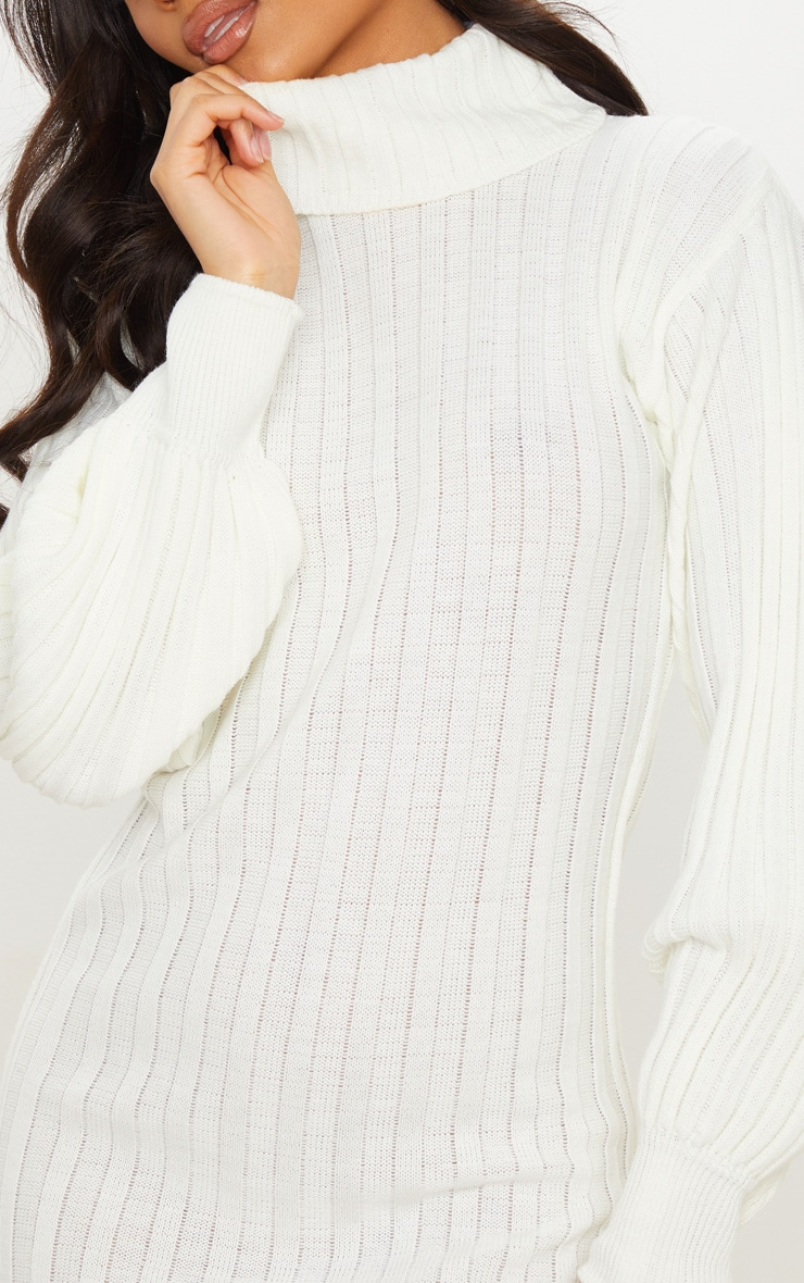 Cream Roll Neck Ribbed Knitted Jumper Dress 4