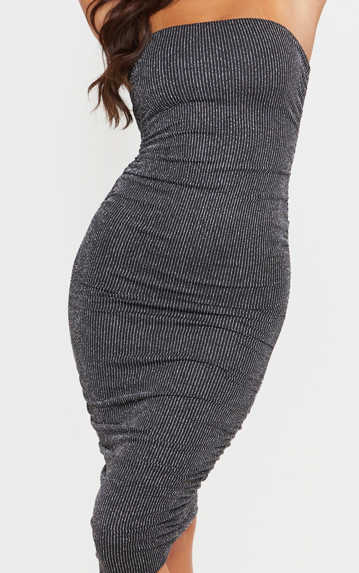 Silver Glitter Stripe Ruched Bandeau Bodycon Dress 5
