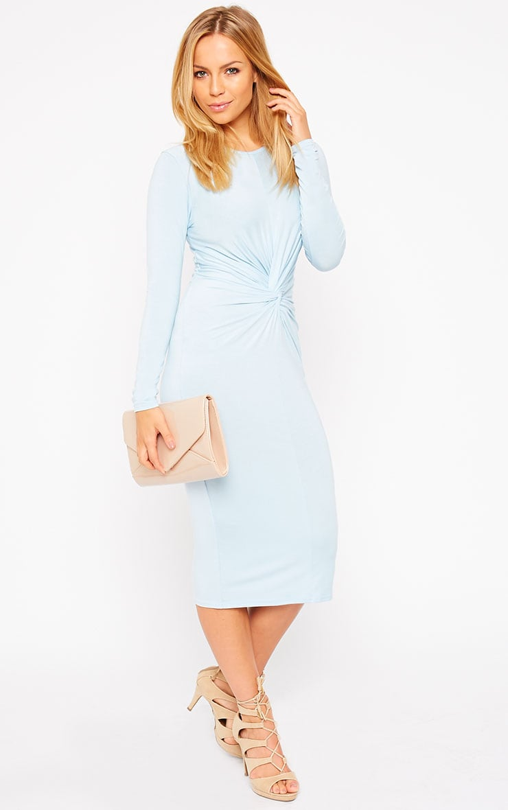 Kenna Powder Blue Knot Front Midi Dress 1