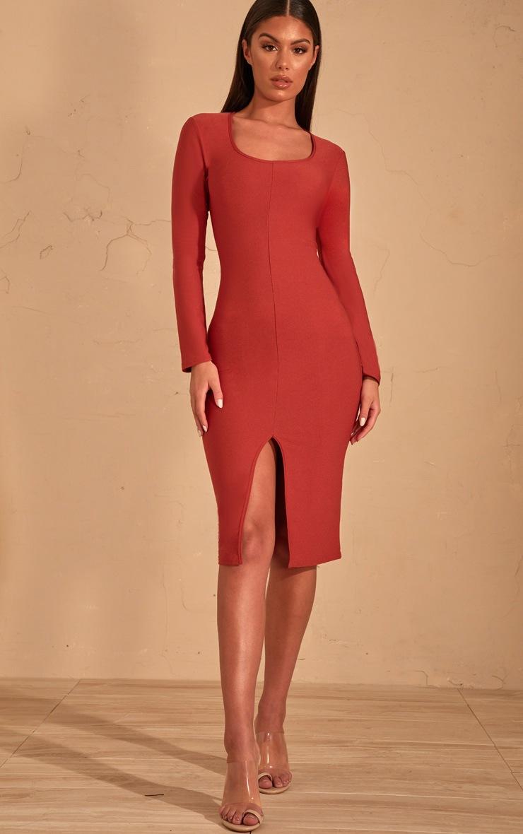 Auburn Split Front Scoop Neck Midi Dress  1