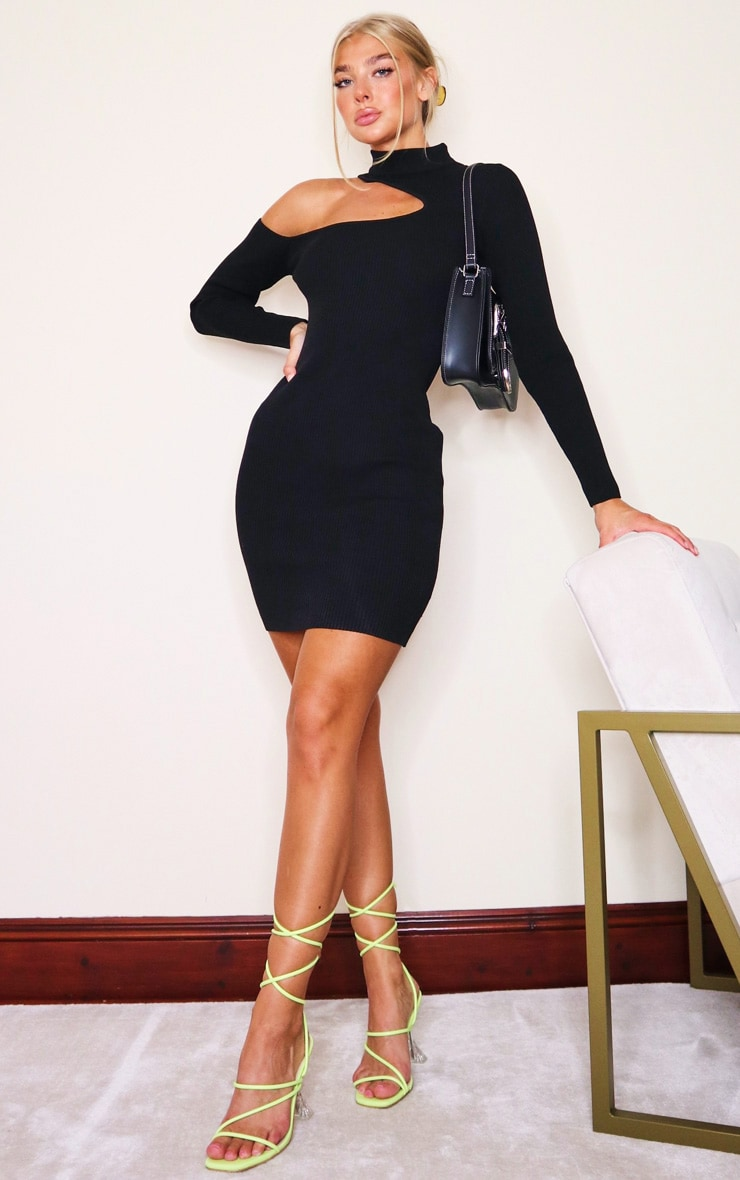 Black Slash Neck Cut Out Knitted Mini Dress 3