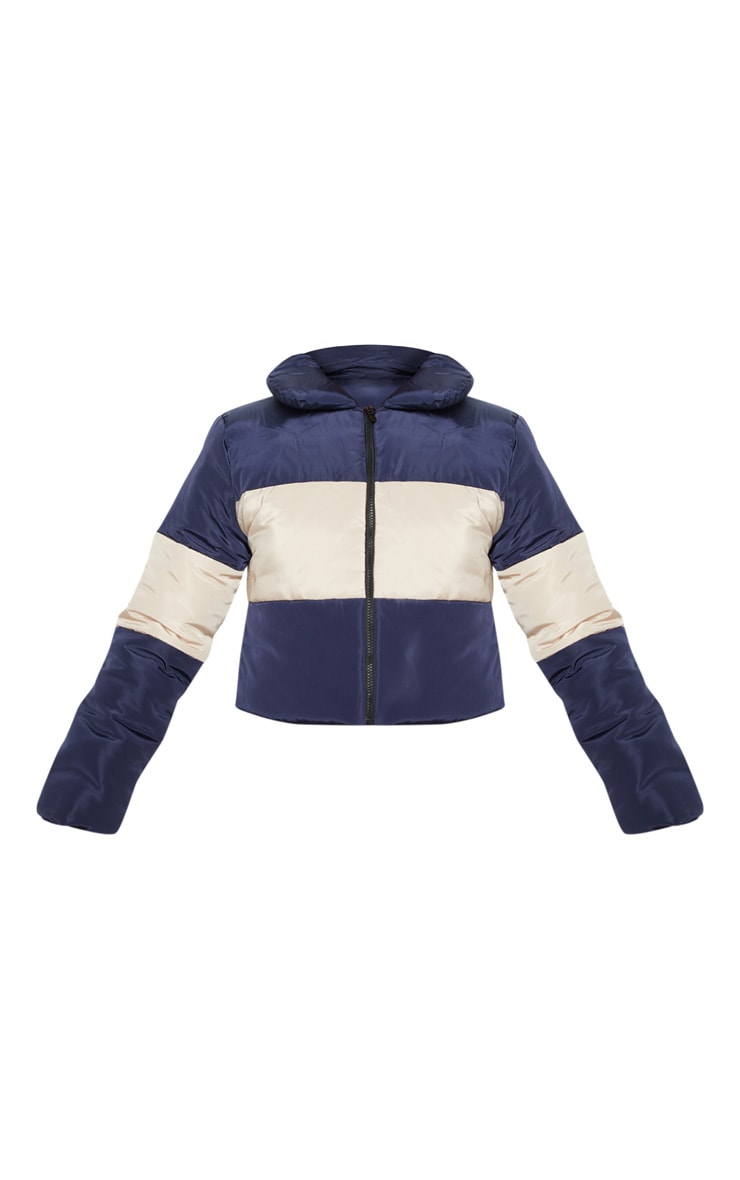 Navy  Cropped Colour Block Puffer  3