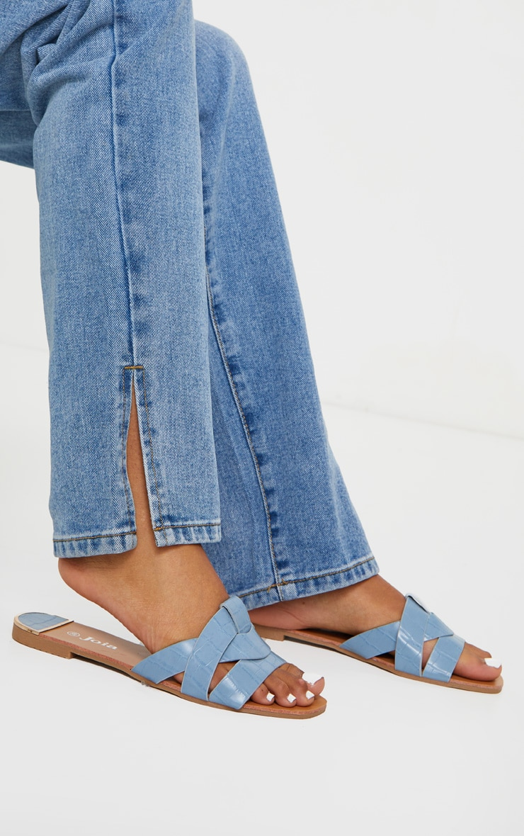 Blue Croc PU Strap Over Flat Sandals 1