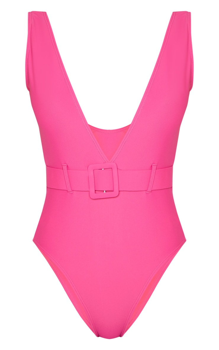 Pink Plunge Belted Swimsuit 3