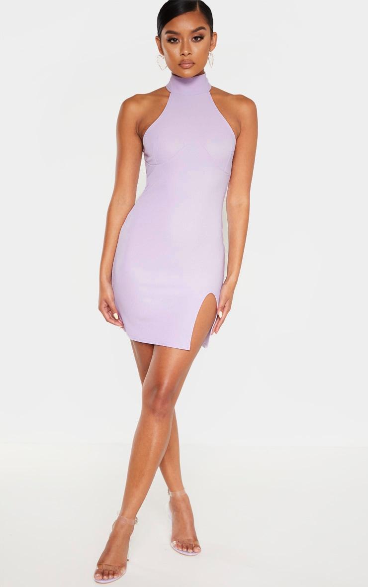 Dusty Lilac Bandage Rib High Neck Cup Binding Bodycon Dress 1