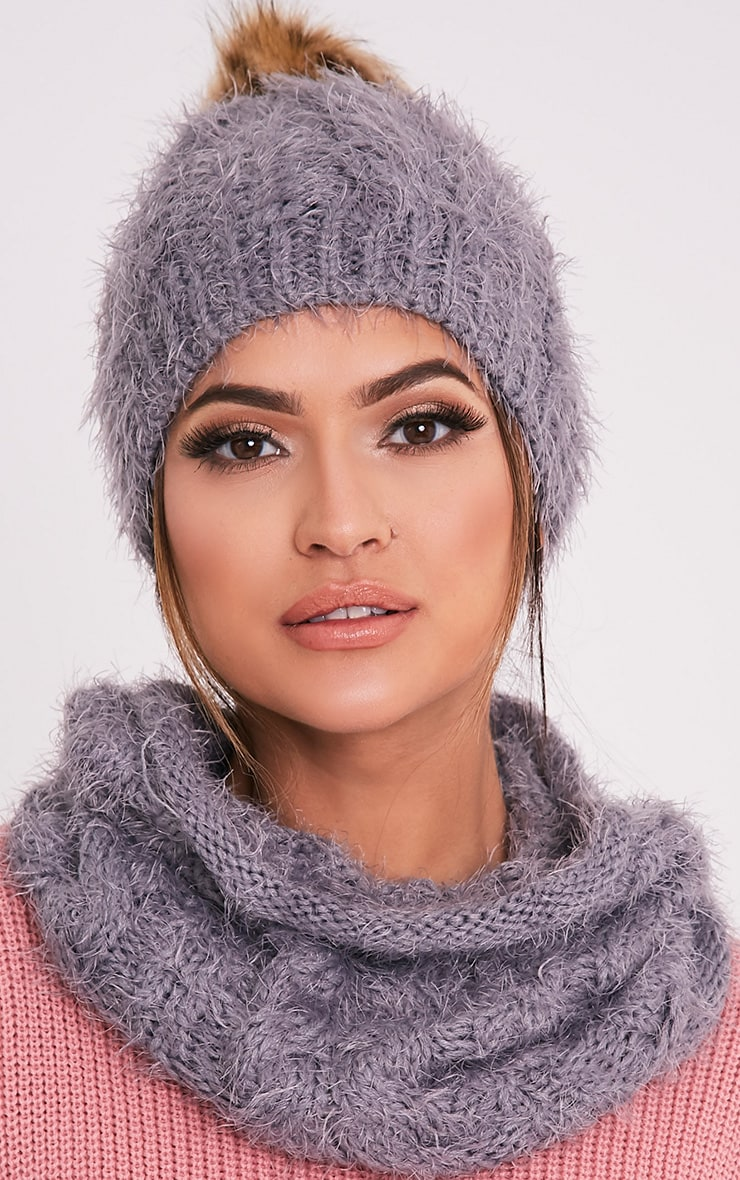 Two Pack Grey Knitted Beanie and Snood 1
