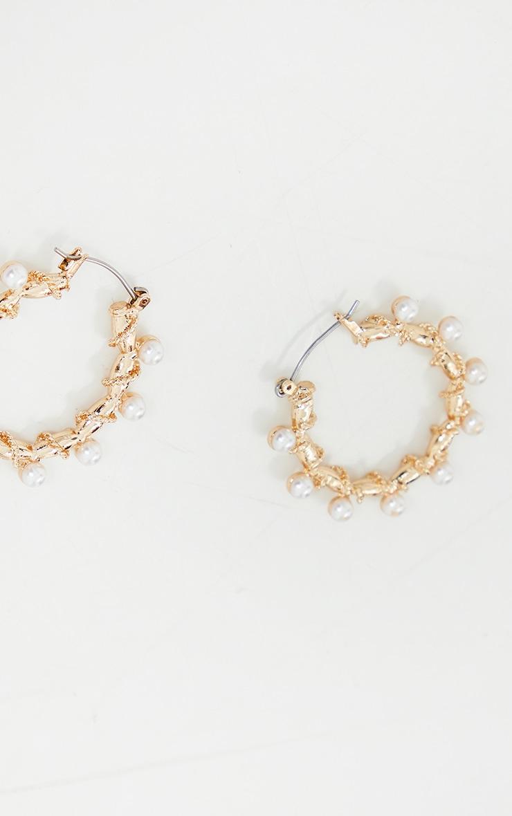 Gold Mini Pearl Small Hoop Earrings 3