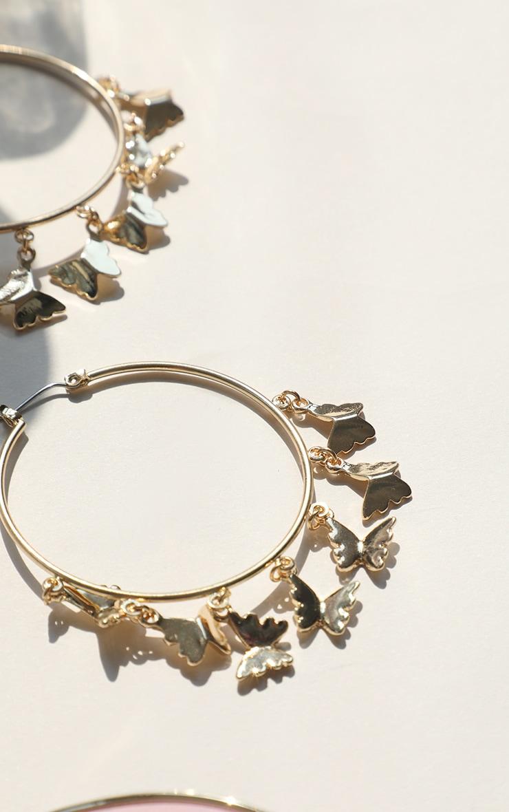 Gold Butterfly Multi Hoop Earrings 2