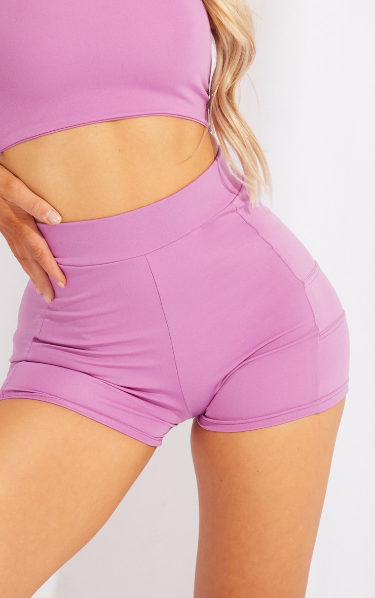 Purple Panelled Gym Booty Shorts 5