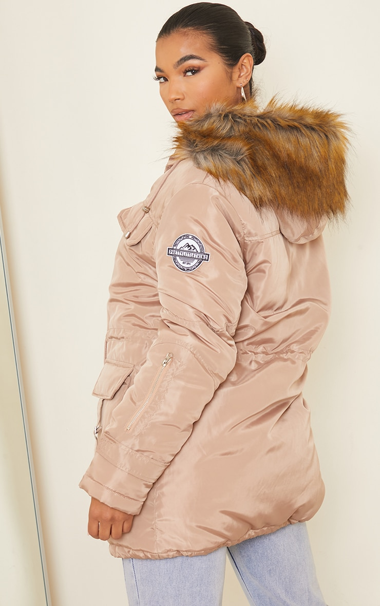 PRETTYLITTLETHING Recycled Taupe Nylon Faux Fur Hooded Parka Jacket 2