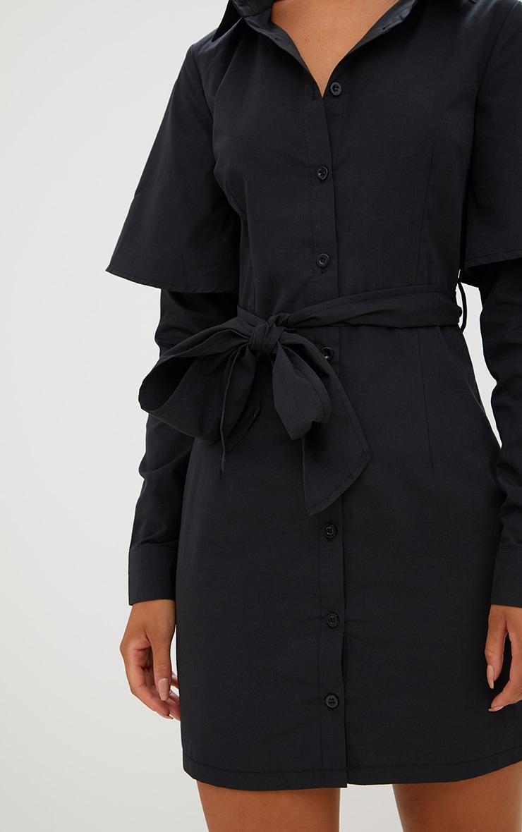 Black Double Cuff Tie Waist Shirt Dress 5