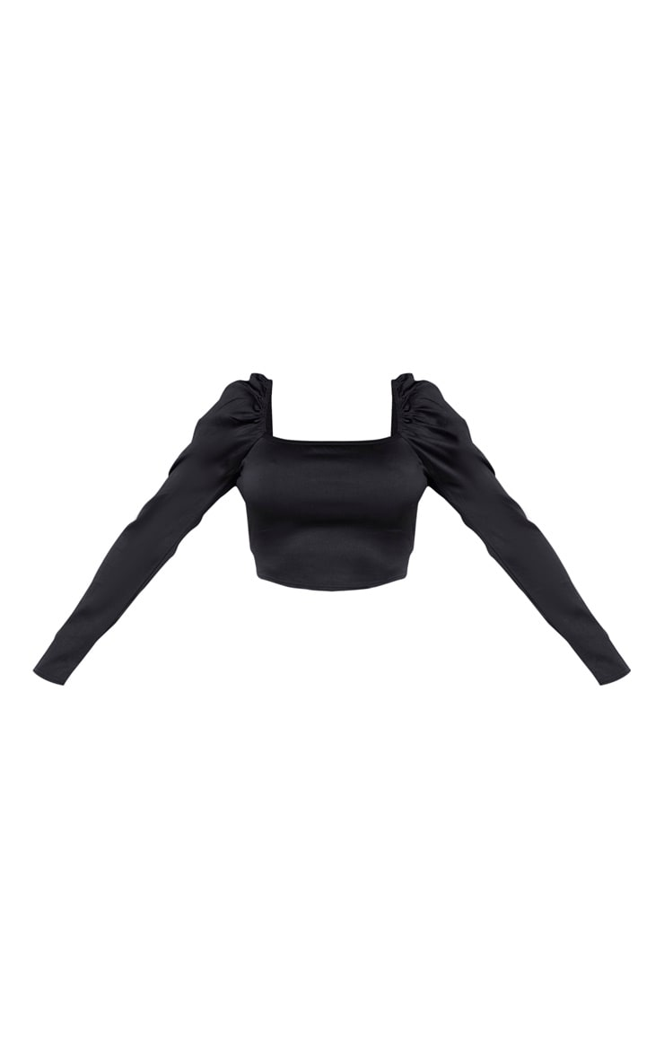 Shape Black Stretch Satin Square Neck Crop Top  3