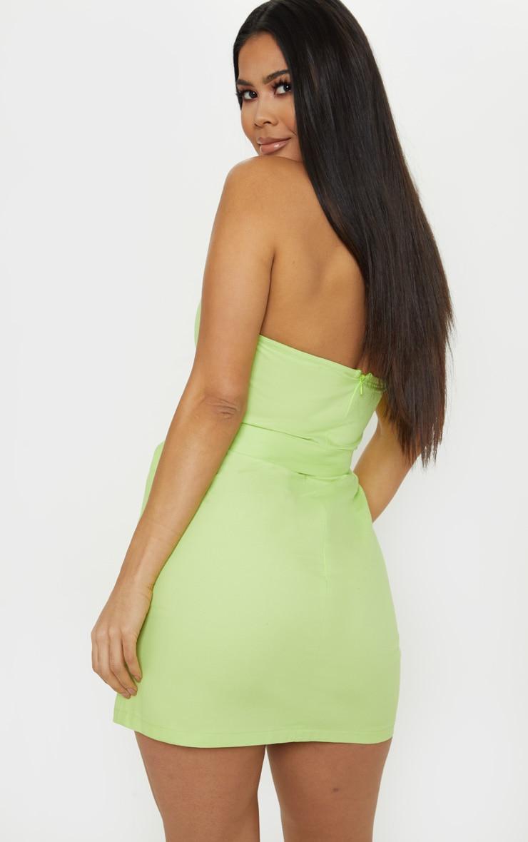 Robe bandeau moulante vert citron style cargo à poches frontales 2