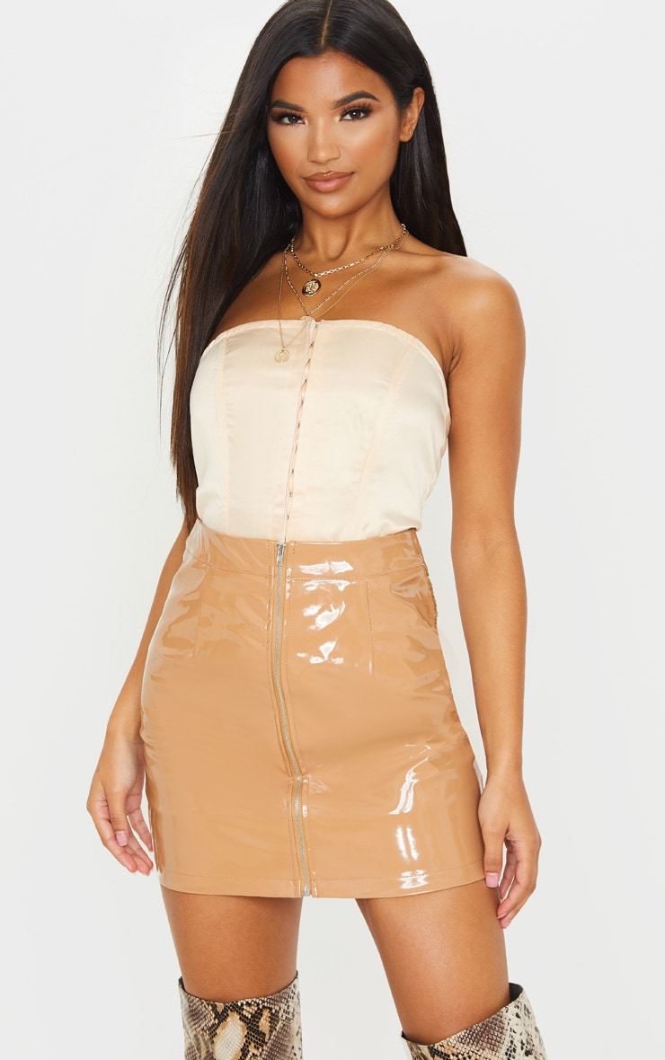 Chestnut Vinyl Mini Skirt  1