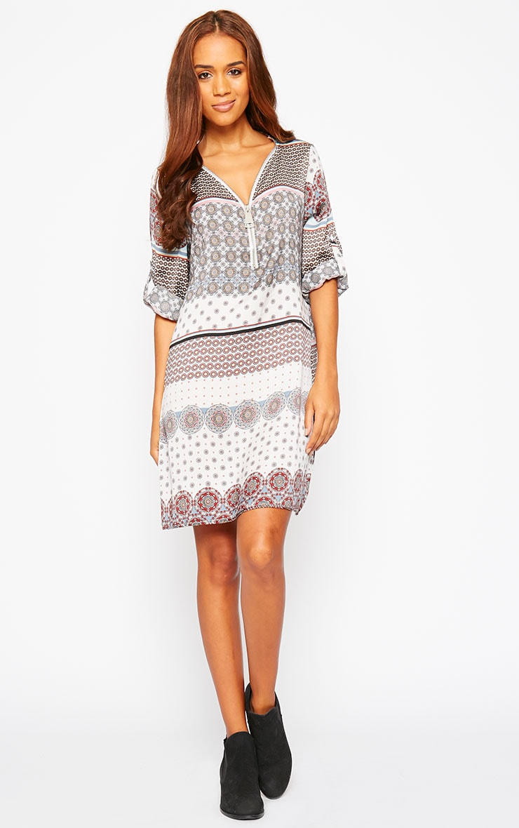 Priscilla White Zip Front Paisley Print Dress 3