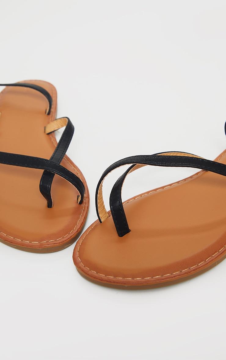 Black PU Cross Over Flat Mule Sandals 3