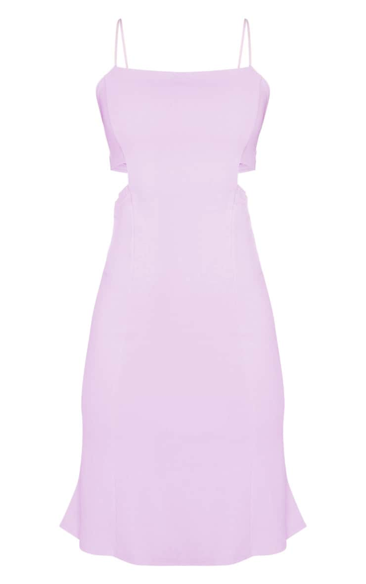 Lilac Scuba Crepe Tie Back Midi Dress 3