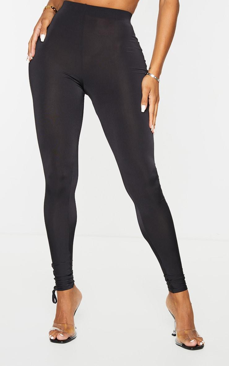 Shape Black Slinky Ruched Hem Toggle Detail Leggings 2