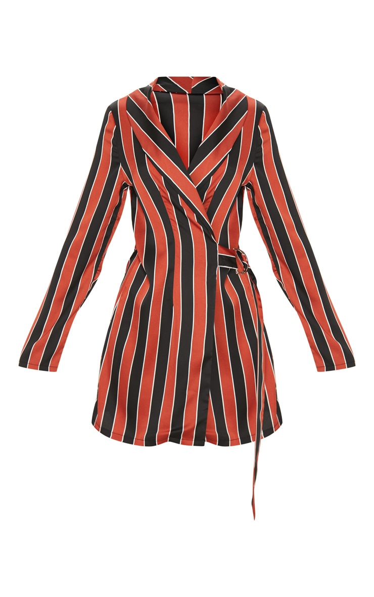 Rust Satin Stripe D Ring Blazer Dress 3