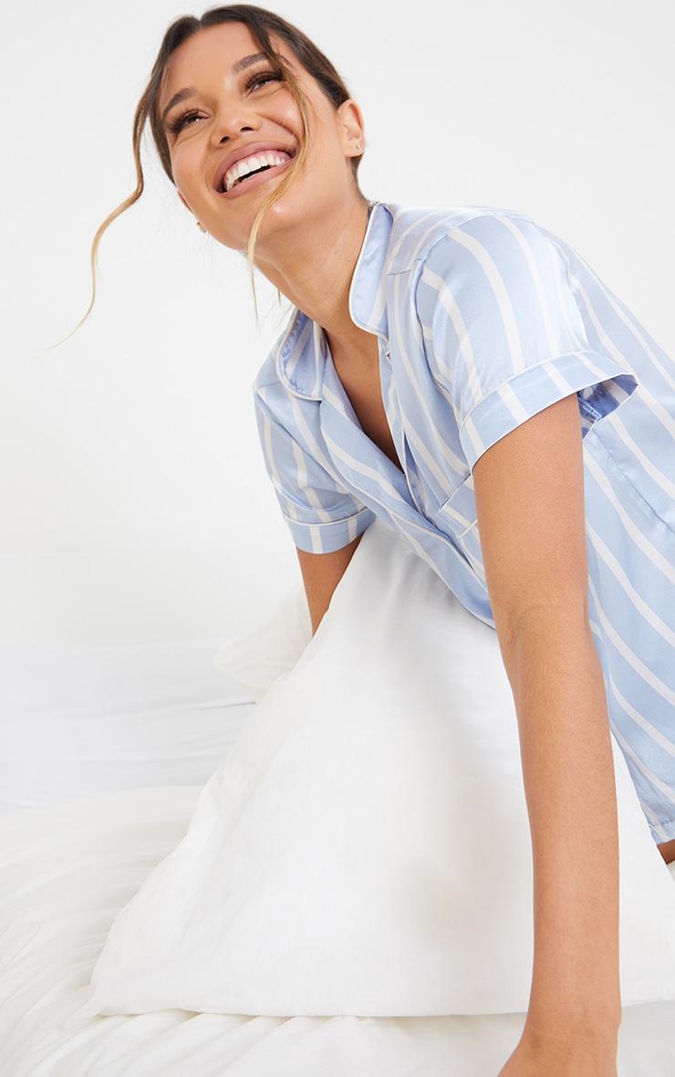 Blue Striped Satin Short Sleeve PJ Set 4