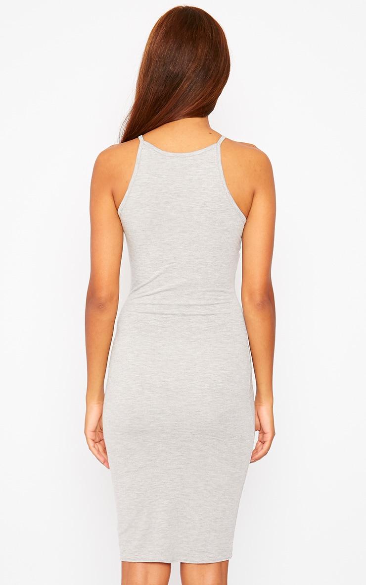 Basic Grey Jersey Racer Neck Dress 2