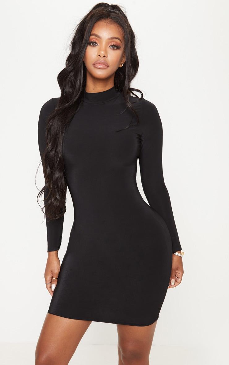 Shape Black Slinky High Neck Bodycon Dress 1