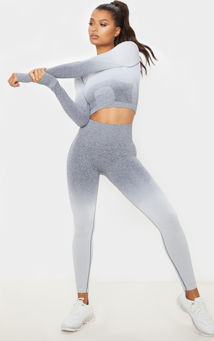 Grey Marl Ombre Seamless Long Sleeve Cropped Gym Top 3