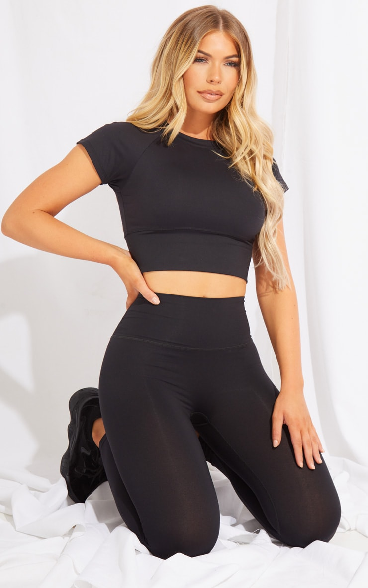 Black Brushed Luxe Cropped Sports Tshirt 3