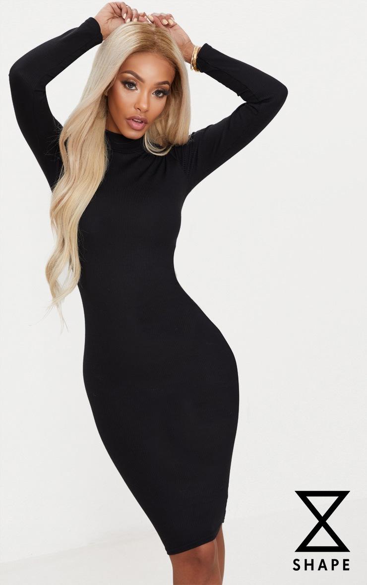 Shape Black Ribbed High Neck Midi Dress 1