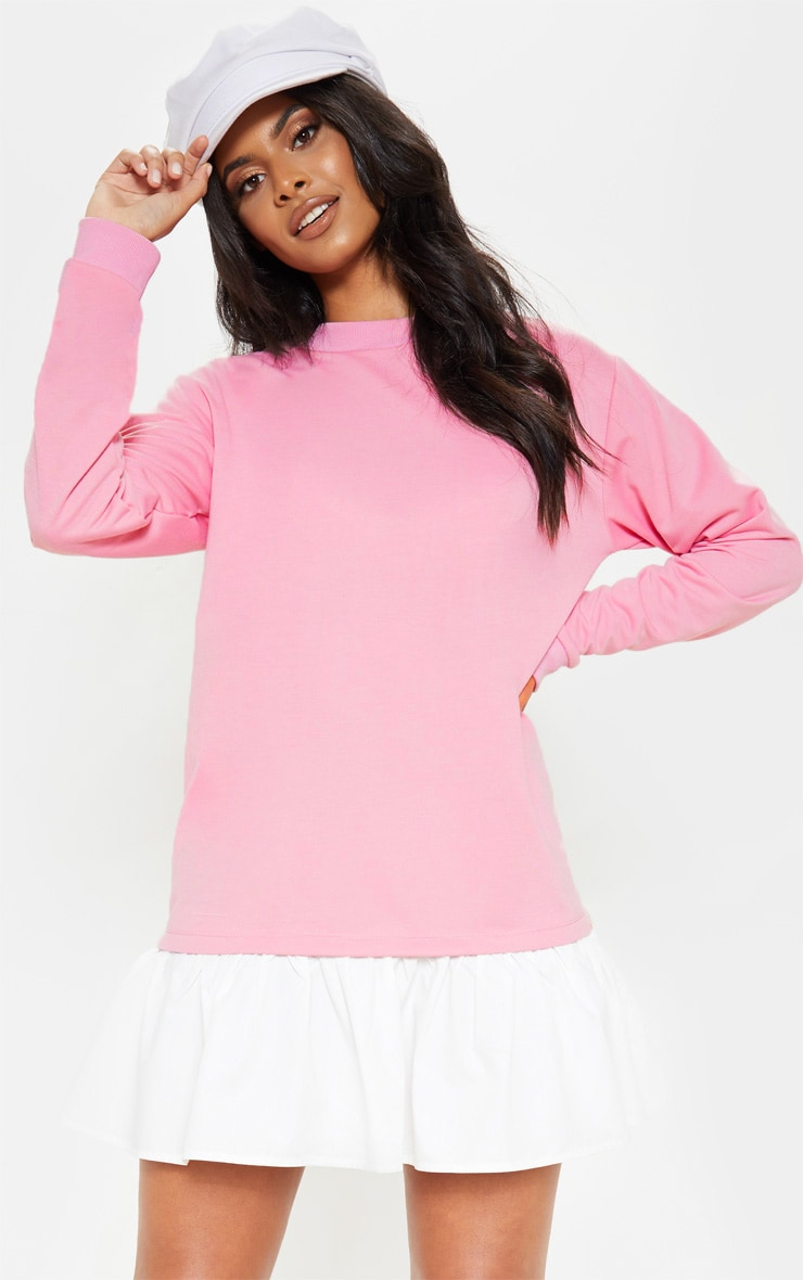 Dusty Pink Sweater Dress with Poplin Frill 1