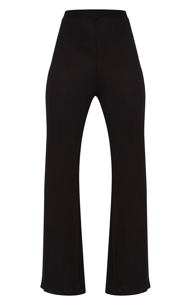 Basic Black Jersey Wide Leg Trousers 3