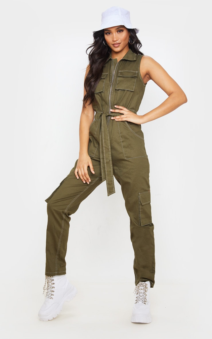 Khaki Zip Through Pocket Detail Utility Jumpsuit 1