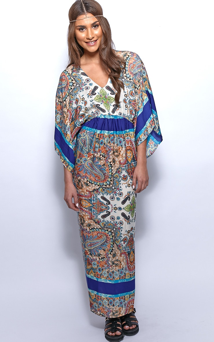 Molly Blue Paisley Print Maxi Kaftan Dress 1