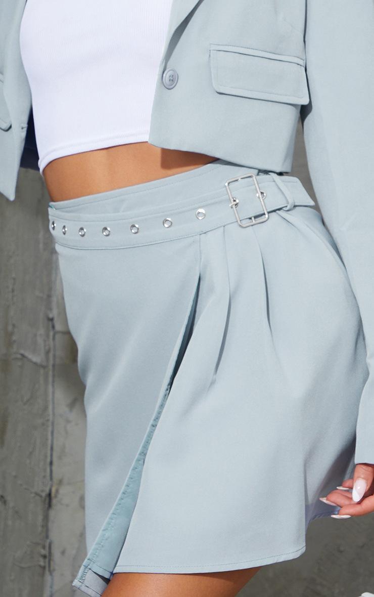 Grey Woven Belt Hem Pleated Wrap Over Mini Skirt 5