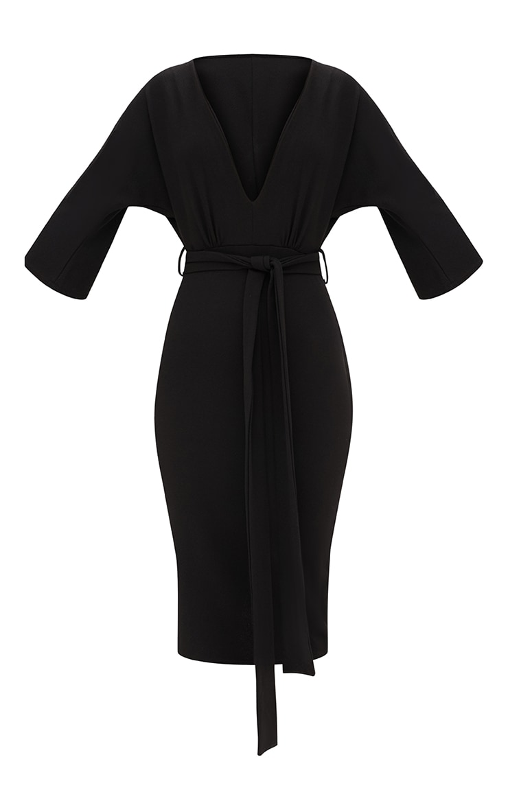 Black Kimono Sleeve Tie Waist Midi Dress 3