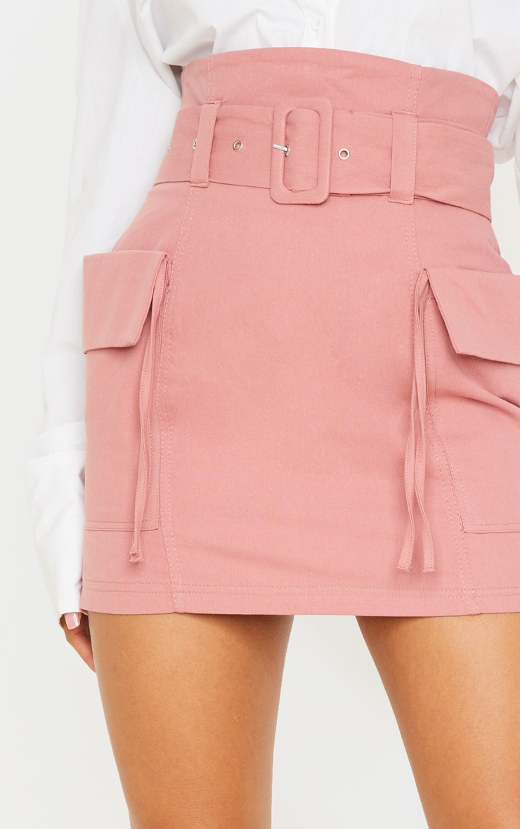 Dusty Rose Belted Pocket Detail Cargo Mini Skirt 6