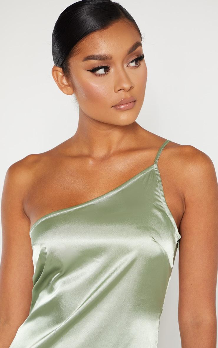 Sage Green Satin One Shoulder Maxi Dress 5